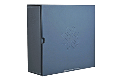 Blue grey leather binder in a slipcase with a blind debossed logo