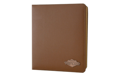 Brown leather binder with sewn edges and copper plate logo