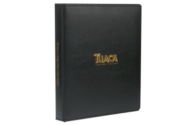 Thermal binding faux leather binder with foil debossed artwork.