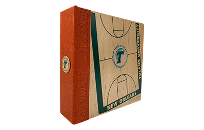 Solid wood binder with a basketball textured faux leather quarterbind spine.