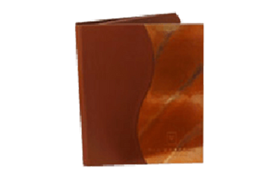 Brown leather binder with copper wave design