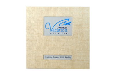 Sand color fabric  binder with silk screened linen framed logo.