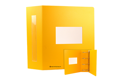 Large yellow square binder with die-cut window