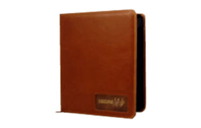 Brown leather binder with copper embossed plate in die-cut window