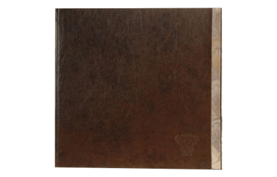 Brown leather menu with foil edge and blind debossed logo