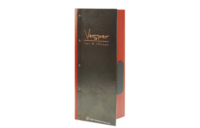 Dark copper menu with red spine and interior