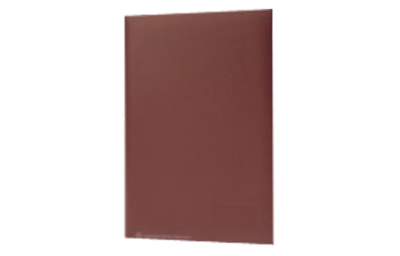 Medium brown leather menu with a textured finish and blind debossed logo