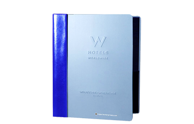 Blue aluminum binder with royal blue leather spine and blind embossed logo