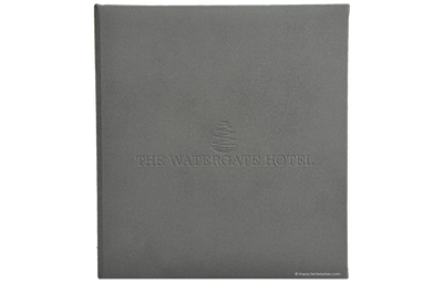Charcoal grey leather binder with blind stamped logo