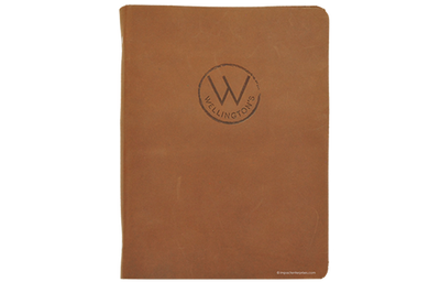 Brown floppy leather menu with blind debossed artwork