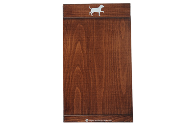 Solid Alder wood eco friendly menu board with a white laser-engraved logo.