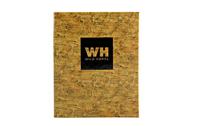 Root patterned faux cork menu cover with a center leaf panel and foil debossed artwork.
