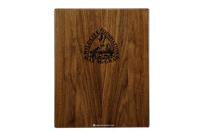 Eco-friendly walnut menu boards with laser-engraved logo artwork.
