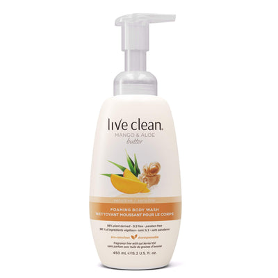 Live Clean Mango And Aloe Butter Sensitive Foaming Body Wash and Body Soap