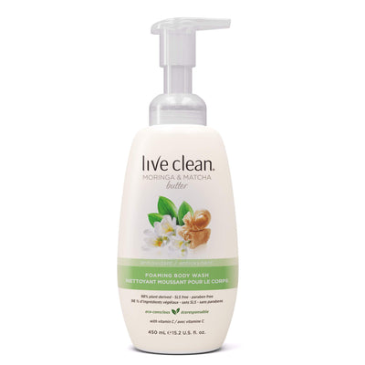 Live Clean Moringa and Matcha Butter Foaming Body Wash
