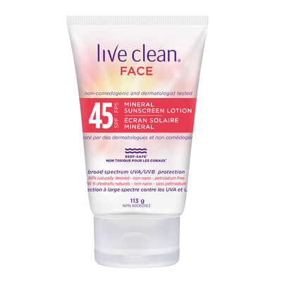 Live Clean Mineral Face Sunscreen Lotion, SPF 45