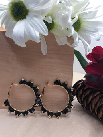 Black Spiked Hoops