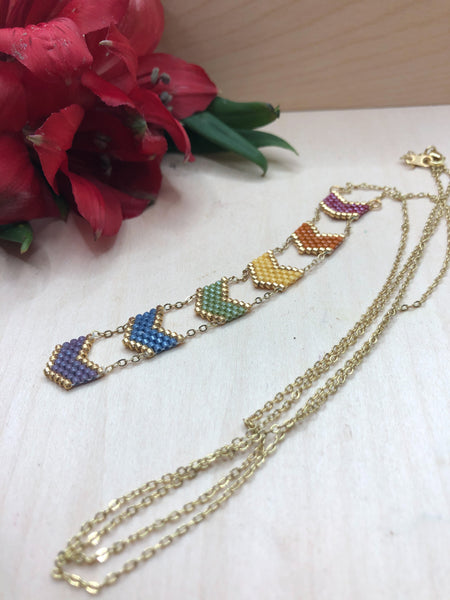 Chevron Rainbow Necklace