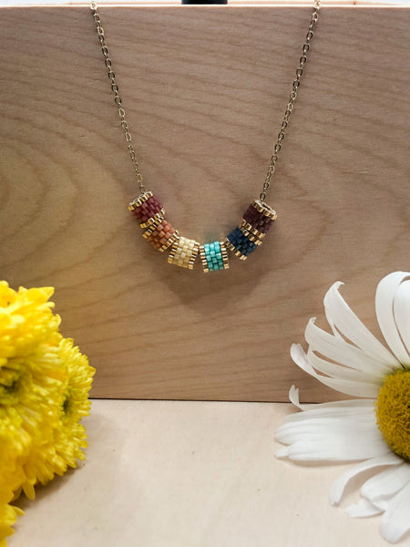 Split Tube Rainbow Necklace