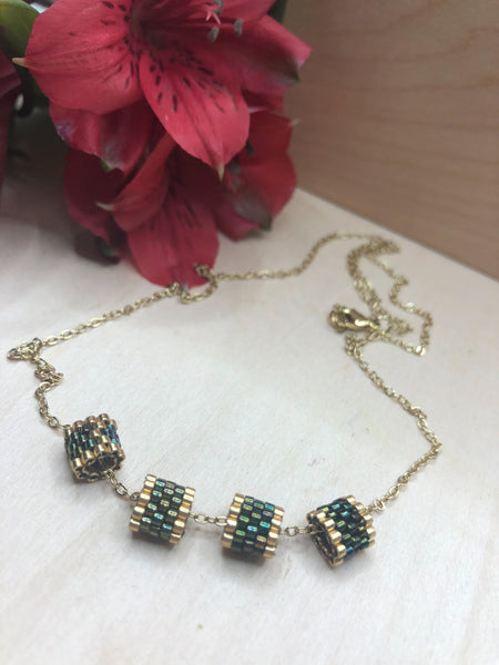 Split Tube Peacock Necklace
