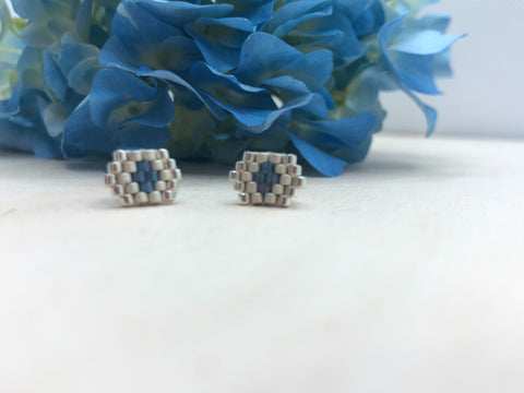 Silver and Blue Hexagon Studs