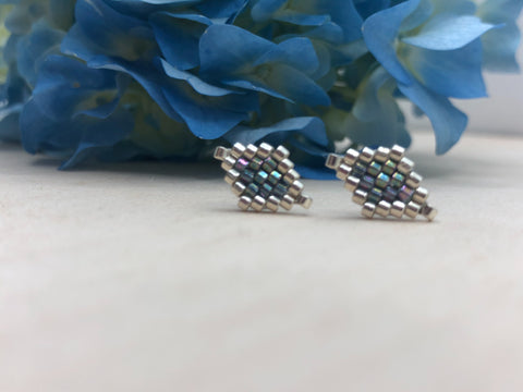 Rainbow Grey Diamond Studs