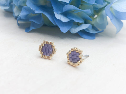 Purple Honeycomb Studs