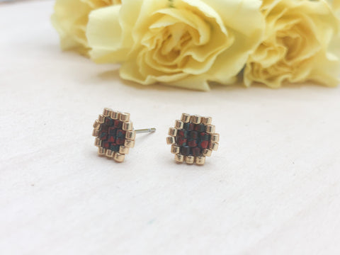 Red Picasso Honeycomb Studs