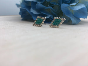 Teal Diamond Studs