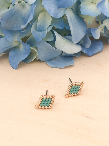Teal Pastel Diamond Studs