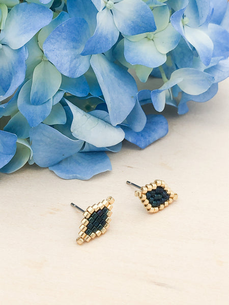 Dark Blue Diamond Studs