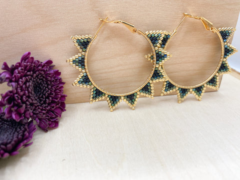 Peacock Spiked Hoops