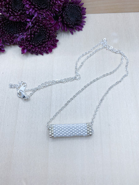 White and Silver Tube Necklace
