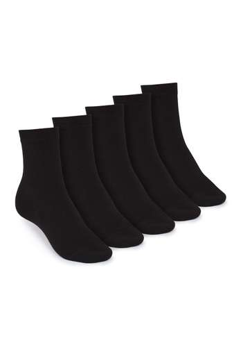 Black Socks Mid 5 Pack