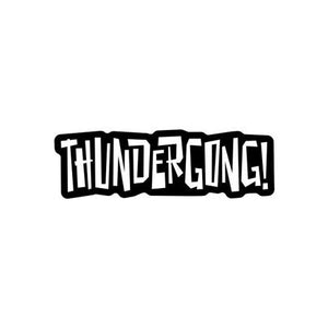 black and white thundergong! lapel pin