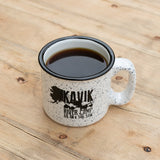 kavik river camp mug on wooden background