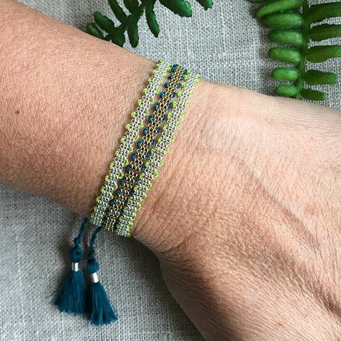 Evelyn 3 Tiered Handwoven Chain Bracelet
