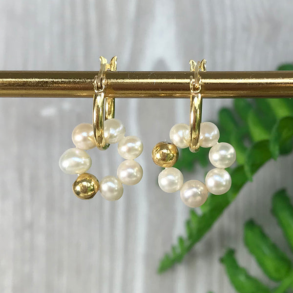 Enya Pearl Halo Hoop Earrings