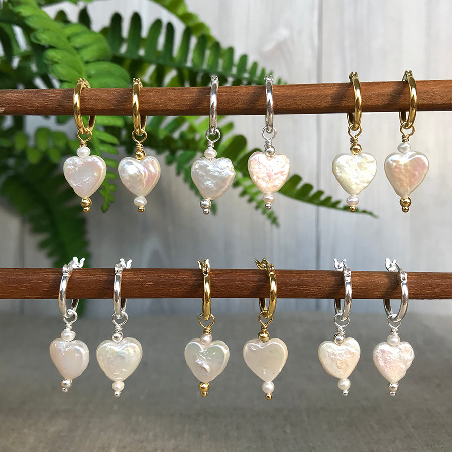 Mila Pearl Heart Earrings