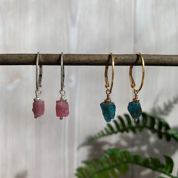Annika Rough Stone Drop Earrings