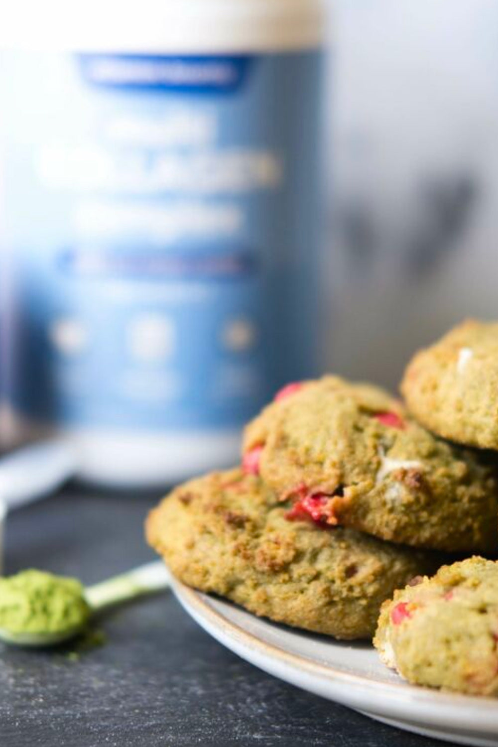 Strawberry White Chocolate Chip Matcha Collagen Cookies