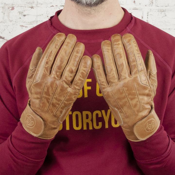 Age of Glory Rover Leather CE Gloves Waxed Camel