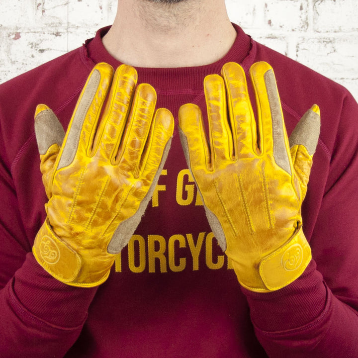 Age of Glory Rover Leather CE Gloves Waxed Yellow