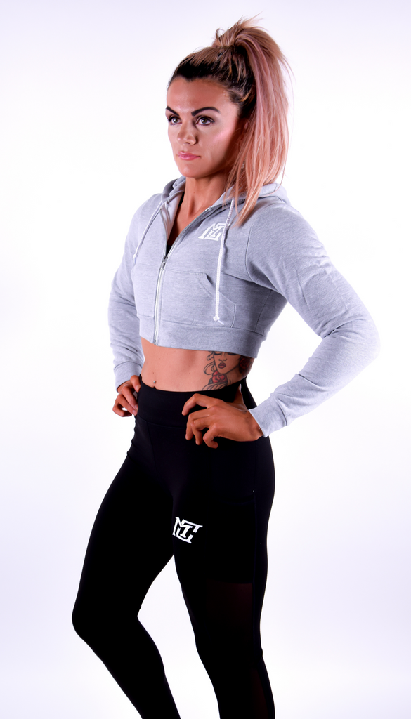 Womens- Cropped Hoodie Motivational Clothing Grey - Motivational Clothing Ltd