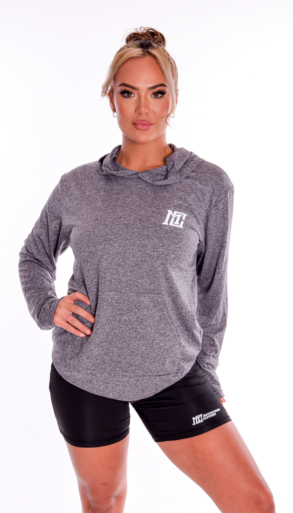Womens - Motivational Clothing (Blue/Grey) Hoodie - Motivational Clothing Ltd