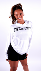 Womens - White Light Weight Hoodie Motivational Clothing - Motivational Clothing Ltd