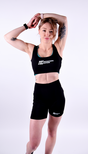 Womens - Black Motivational Clothing Top & Short Set - Motivational Clothing Ltd