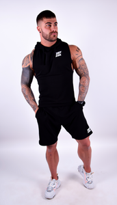 Mens - Motivational Clothing Black Sleeveless Hoodie - Motivational Clothing Ltd