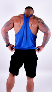 Mens - Motivational Clothing Blue Stringer Vest - Motivational Clothing Ltd