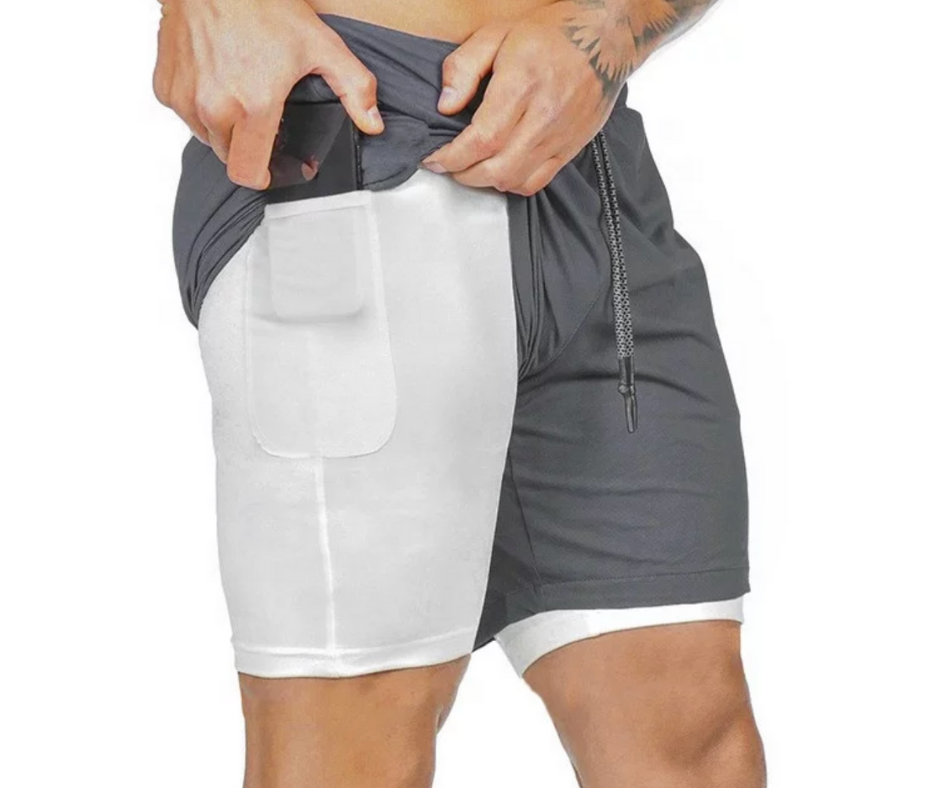 Mens Grey Shorts 2 in 1 - Motivational Clothing - Motivational Clothing Ltd